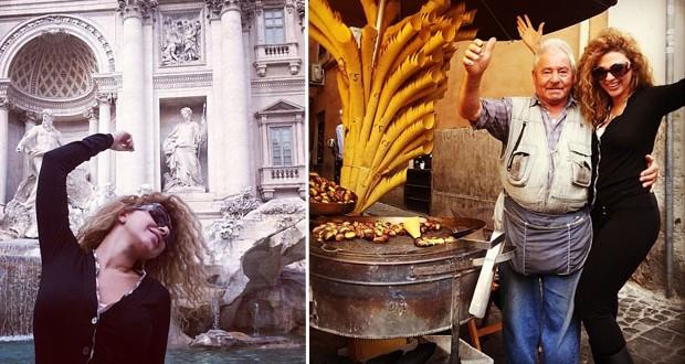 بالصور: ميريام فارس تمنّت وأكلت الكستنا في روما
