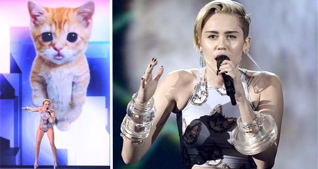بالصور: مايلي سايرس غنّت مع القطّة وتأثرّت في حفل الـ American Music Awards