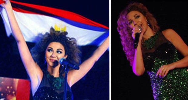 بالصور والفيديو: ميريام فارس رفعت العلم المصري عالياً وأشعلت مسرح كأس العالم بحراسة الأهرامات