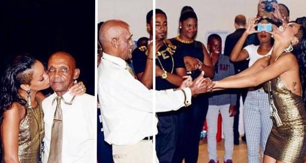 بالصور: Rihanna إحتفلت بالعيد الـ85 لجدّها