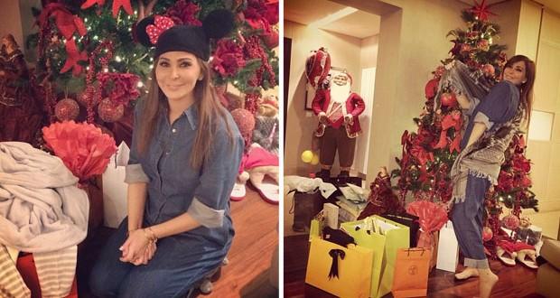 بالصور: إليسا تلقّت هدايا Santa Clause ببراءة وعفوية الأطفال