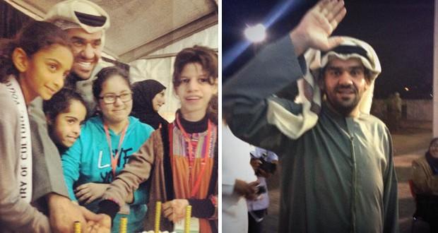 بالصور: حسين الجسمي زرع البسمة على وجوه الأطفال في مخيم الأمل