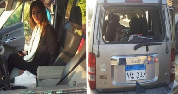 """بالصور: إعتداء """"الإخوان"""" على مي سليم وتحطيم سيارتها"""