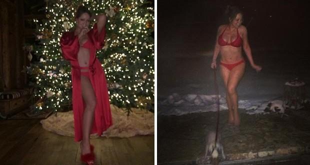 بالصور: Mariah Carey شبه عارية وسط الثلج