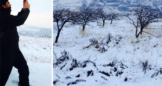 بالصور: وائل كفوري يتتقل بين الجبال المغطّاة بالثلوج