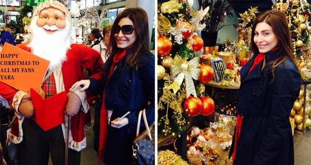 بالصور: يارا تعيش أجواء عيد الميلاد وترنّم على أنغام Castana