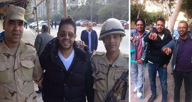 بالصور: محمد حماقي شارك في الإستفتاء على الدستور