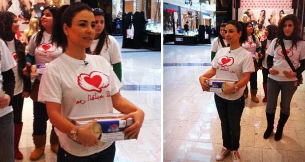 """خاص بالصور: ماغي بو غصن تجمع التبرّعات لحملة """"من القلب للقلب"""""""