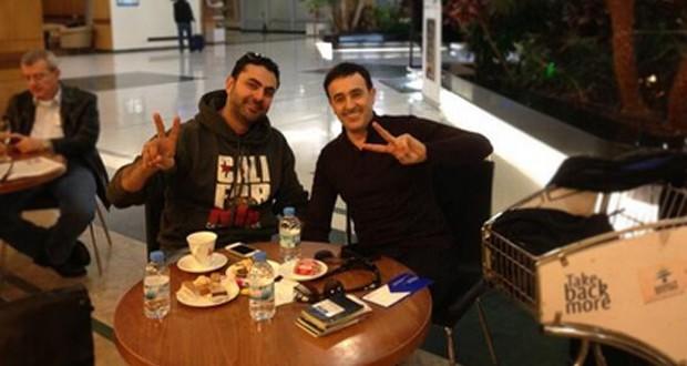 بالصورة: صابر الرباعي ومحمد كريم في مطار بيروت وهذا ما دار بينهما