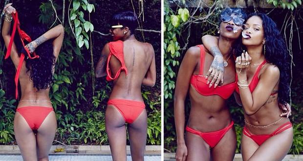 بالصور: Rihanna شبه عارية وتدخن الحشيش