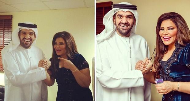 بالصور: حسين الجسمي وأحلام معاً وراية الإمارات توحدّهما