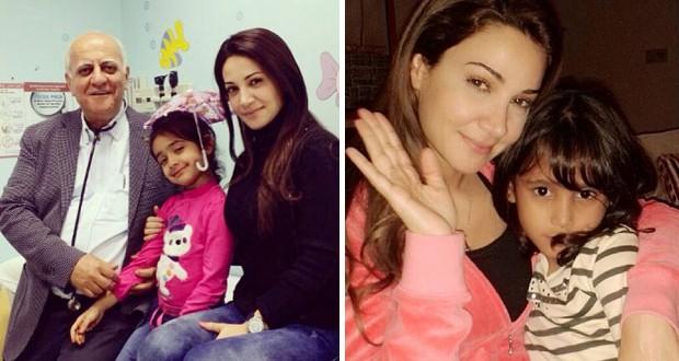 بالصور: ديانا حداد مع أصغر معجباتها ومع إبنتها في عيادة الطبيب