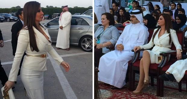 إليسا خطفت الأنظار وتألقت بالأبيض في سباق الفروسية في البحرين
