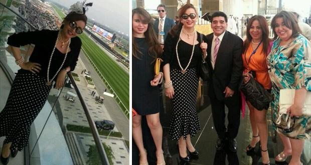 بالصور: لطيفة شاركت في كأس دبي العالمي للخيول وإلتقت بـ مارادونا
