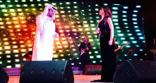 بالصور: نجوى كرم وحسين الجسمي أشعلا الدوحة بأغنية مشتركة