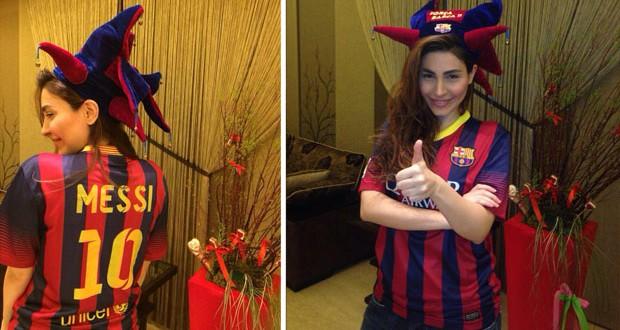 بالصور: يارا تدعم فريق Barcelona وMessi على طريقتها الخاصّة
