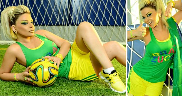 بالصور: مادلين مطر تواصل دعمها للبرازيل وتحبس الأنفاس على أرض الملعب