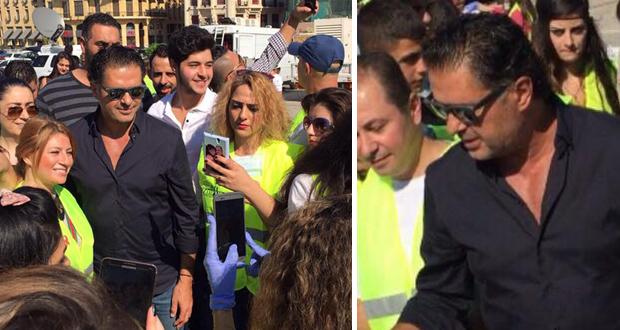 """راغب علامة وسط بيروت دعماً لـ""""حملة دفي"""" ومن رافقه؟"""